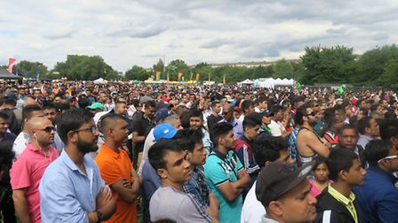 Crowds build up in Weavers Fields for the live shows on stage