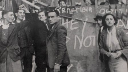 Barrier in Cable Street with 'They Shall Not Pass' warning about Blackshirts marching