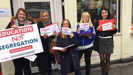 Activists campaigned against grammar schools across the borough over the weekend.