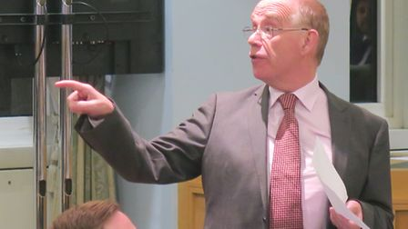 Tower Hamlets Tory group leader Peter Golds in council chamber