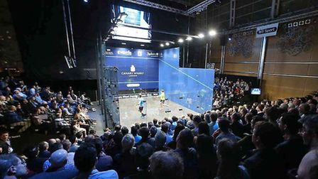 Crowds look on at the Canary Wharf Classic (pic Steve Line/squashpics.com)