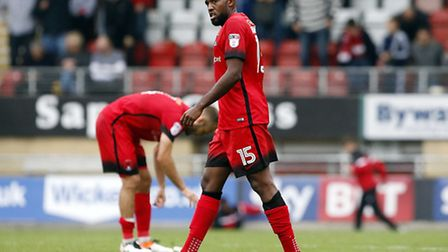 Leyton Orient's Nigel Atangana shows his disappointment (pic: Simon O'Connor).