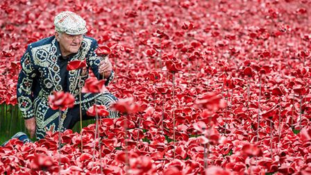 Cockney Pearly King at planting of poppies, Tower of London, 2014, marking 100th anniversary of outb