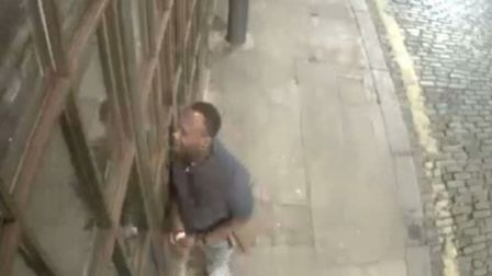 Suspect caught on camera in Ebor Street, off Bethnal Green Road, after Shoreditch House robbery Sept