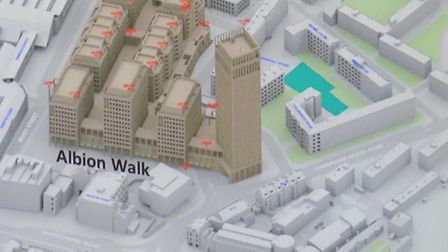 Sainsbury's grand plan for Whitechapel, overlooking Wren's almshouses to the right