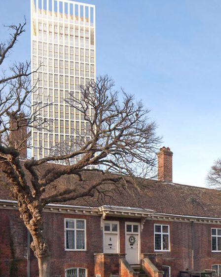 How the Sainsbury tower would dominate Trinity Green almshouses skyline