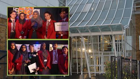 Garden Space competition winners from Whitechapel's Swanlea School... Swanfeaf team (top) and Poison