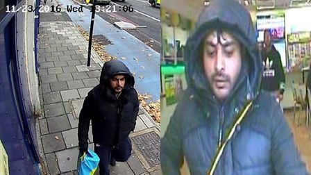 Police want to trace this man after armed robberies in Tower Hamlets and other east London locations