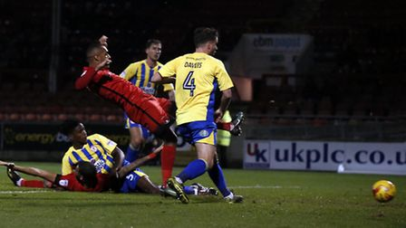 Leyton Orient forward Jay Simpson fires home the only goal of the game against Accrington Stanley (p