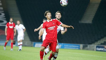 Scott Kashket in action during his first start for Leyton Orient in the League Cup at MK Dons on Aug