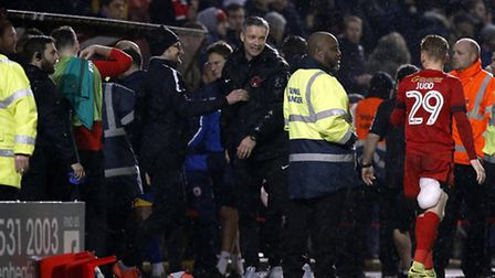 Leyton Orient manager Andy Edwards is all smiles after the full time whistle (pic: Simon O'Connor).