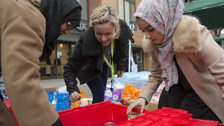 Food and clothing for the homeless being organised by Muslim Aid charity in Whitechapel outside East