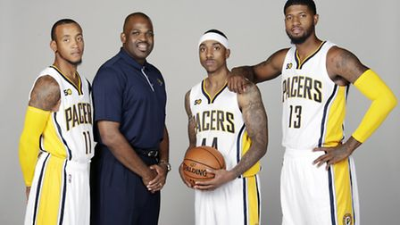 Head Coach Nate McMillan (second left) of Indiana Pacers (pic: Ron Hoskins/NBAE via Getty Images)