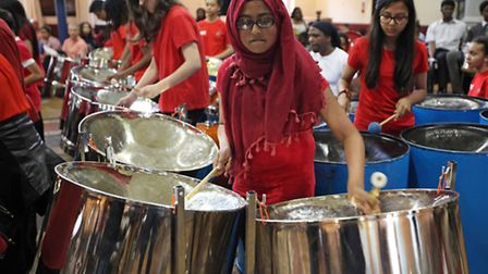 Sir John Cass pupils play steel drums at Hackney Round Chapel