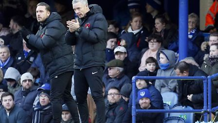 Leyton Orient manager Andy Edwards (right) and assistant Danny Webb urge their team on at Portsmouth