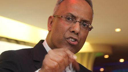 Defiant Lutfur Rahman at rally in 2015 after his ban from office [photo: Mike Brooke]