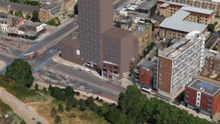 Mock-up of how campaigners say proposed 'Benjy's Tower' will dominate Mile End