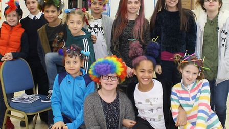 Pupils with oddbod head tops in Lyceum School's 'bad hair' day