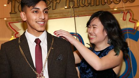 New Young Mayor FahimuI Islam receiving Chain of Office at his Town Hall inauguration from outgoing