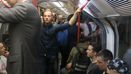 Standing room only! Packed Central line tube train [photos: Mike Brooke]