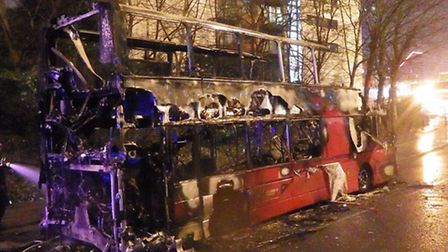 The burnt-out bus in Poplar (picture: London Fire Brigade)