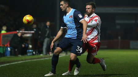 Michael Clark of Leyton Orient and Matthew Godden of Stevenage in action at Broadhall Way (pic: Gavi