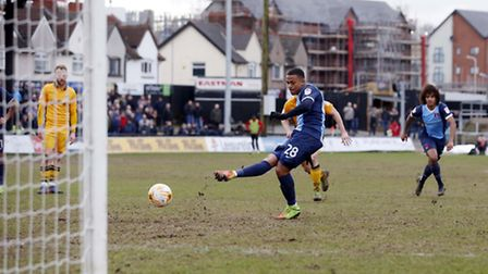 Josh Koroma completes his hat-trick from the penalty spot to put Leyton Orient 4-0 up at Newport Cou