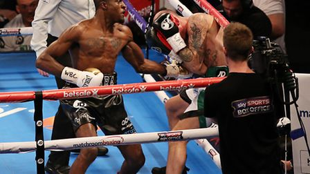 Ohara Davies on the attack against Derry Mathews (pic Natalie Mayhew/Butterfly Boxing)
