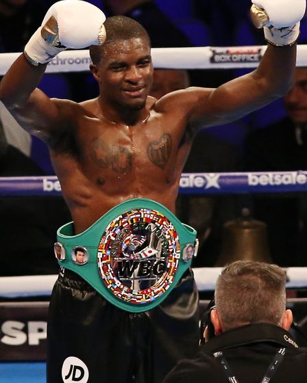 Ohara Davies celebrates his win at the O2 Arena (pic Natalie Mayhew/Butterfly Boxing)