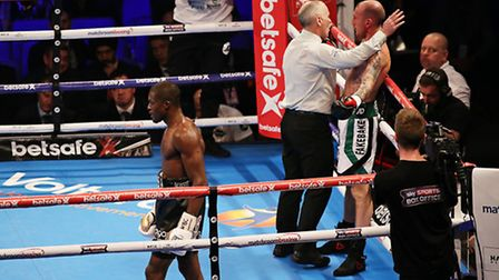 Ohara Davies walks away as the referee stops his contest with Derry Mathews (pic Natalie Mayhew/Butt