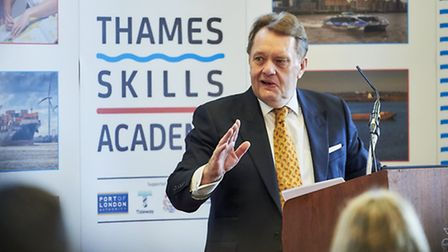 Marine Minister John Hayes addresses Thames Academy's Apprenrice Day at Tower Hill [picture: Matthe