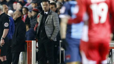 Leyton Orient manager Danny Webb looks on from the touchline at Accrington Stanley (pic: Simon O'Con