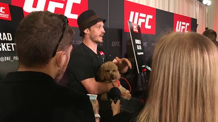 Brad Pickett brought his dog with him to the media day ahead of UFC Fight Night: Manuwa v Anderson