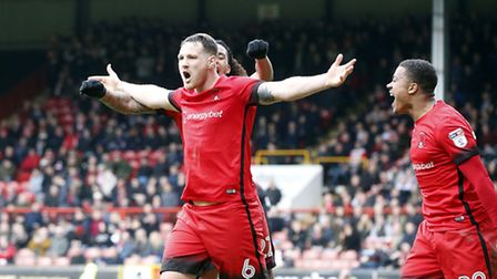 Leyton Orient defender Tom Parkes celebrates after scoring his first goal for the club (pic: Simon O