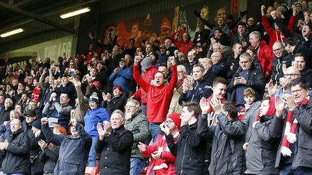 Leyton Orient fans celebrate after Tom Parkes finds the net against Doncaster Rovers (pic: Simon O'C