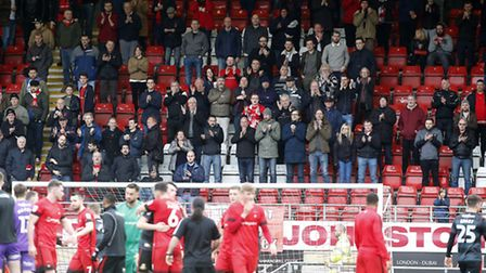 Leyton Orient fans applaud the team off at the full-time whistle after losing 4-1 to Doncaster Rover