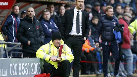 Leyton Orient boss Danny Webb looks on from the touchline (pic: Simon O'Connor).