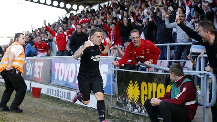 Dean Cox celebrates after scoring a dramatic late equaliser for Leyton Orient at Northampton Town la