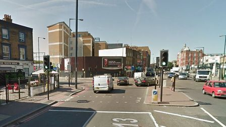 A13 Commercial Road westbound where motorcycle accident happened at traffic lights with Butcher Row,