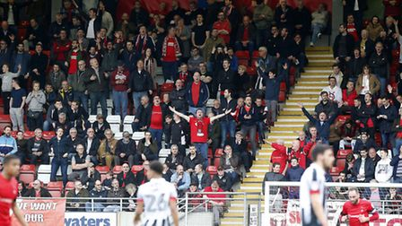 Leyton Orient supporters in the South Stand urge the team on against Grimsby Town (pic: Simon O'Conn
