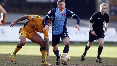 Freddy Moncur brings the ball forward for Leyton Orient against Newport County (pic: Simon O'Connor)