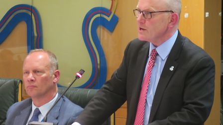 New chief executive Will Tuckley (left) with Mayor Biggs at Tower Hamlets council meeting