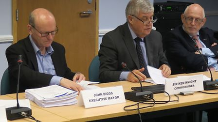 Mayor Biggs (left) at council fund grants meeting being chaired by Commissioner Sir Ken Knight (on h