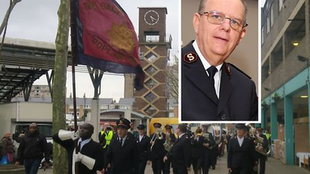 Salvation Army 150th anniversary march through Poplar and (inset) its international chief, General A