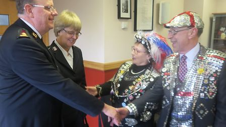 General Cox meets east London cockney Pearly Queen of Bow Bells Doreen Goldberg and Forest Gate Pear