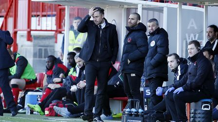 Leyton Orient manager Danny Webb shows his frustrating on the touchline at Crawley Town (pic: Simon
