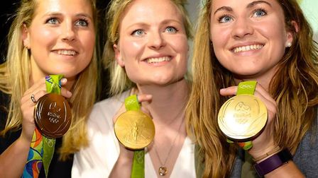 Georgie Twigg, Hollie Webb and Shona McCallin show off their Olympic gold medals (pic Graham Hodges)