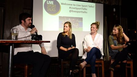Great Britain's Georgie Twigg, Hollie Webb and Shona McCallin took part in a Live Sport Talks event