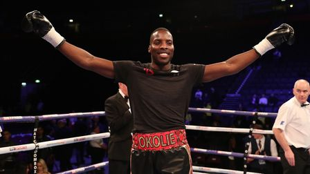Lawrence Okolie celebrates his knockout win against Geoffrey Cave (pic: Lawrence Lustig)