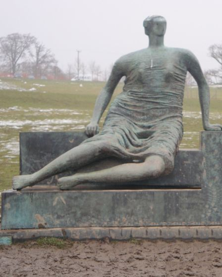 Henry Moore's 'Old Flo' resting in a Yorkshire field